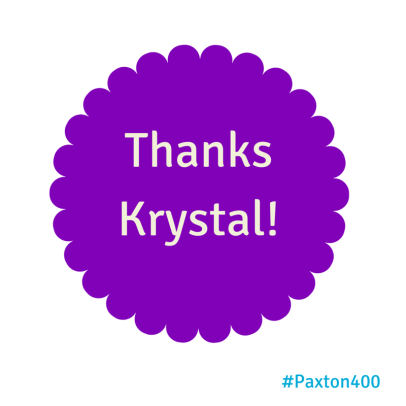 A thank you to my 400th Twitter follower on @BlueHenPaxton.